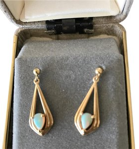 Macy's opal gold earrings