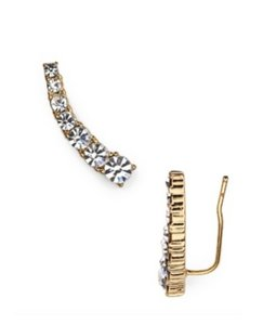 Kate Spade NWT KATE SPADE DAINTY SPARKLERS EAR CLIMBER EARRINGS GOLD CLEAR W BAG