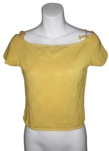 Luca Luca Mustard Silk Short Sleeve Tie Top Yellow