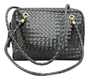 Bottega Veneta Patent Leather Intrecciato Woven Tassel Shoulder Bag
