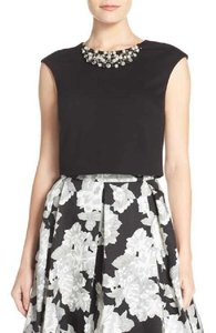 Eliza J Crop Formal Beading Embellished Pearls Top Black