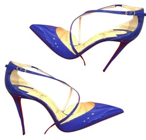 Christian Louboutin Heels Cross Blake Patent Leather Crisscross Strap Electic (blue) Sandals