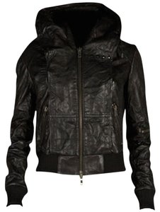 AllSaints Motorcycle Biker Leather Hooded Bomber Leather Jacket
