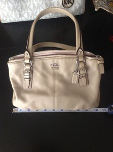 Coach Leather Madison Satchel in Beige