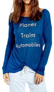 Wildfox Long Sleeve Layering Planes Trains Automobiles Couture New Stretchy Graphic Sweater