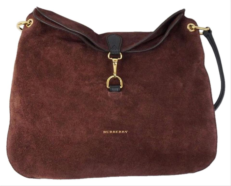 34f355925c05a Burberry Medium Cornwall House Check Mahogany Red Burgundy Suede Shoulder  Bag 67% off retail
