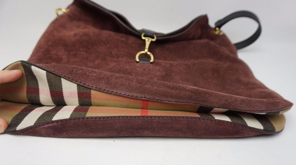 49d0d495d119 Burberry Medium Cornwall House Check Mahogany Red Burgundy Suede ...