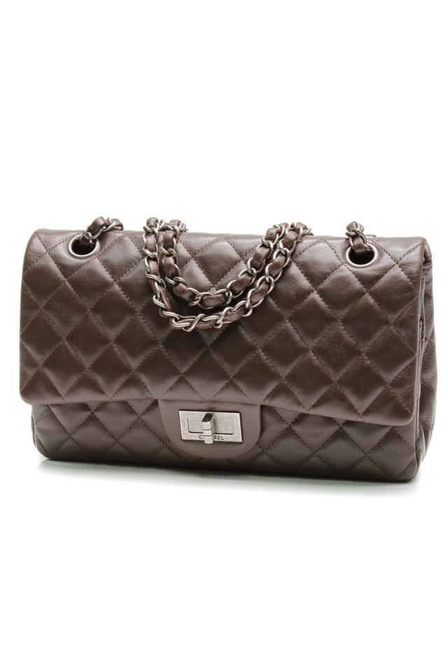 12bcf1c7cbd8a7 Chanel Classic Flap 2.55 Reissue Quilted Hybrid Medium Double Brown  Lambskin Leather Shoulder Bag