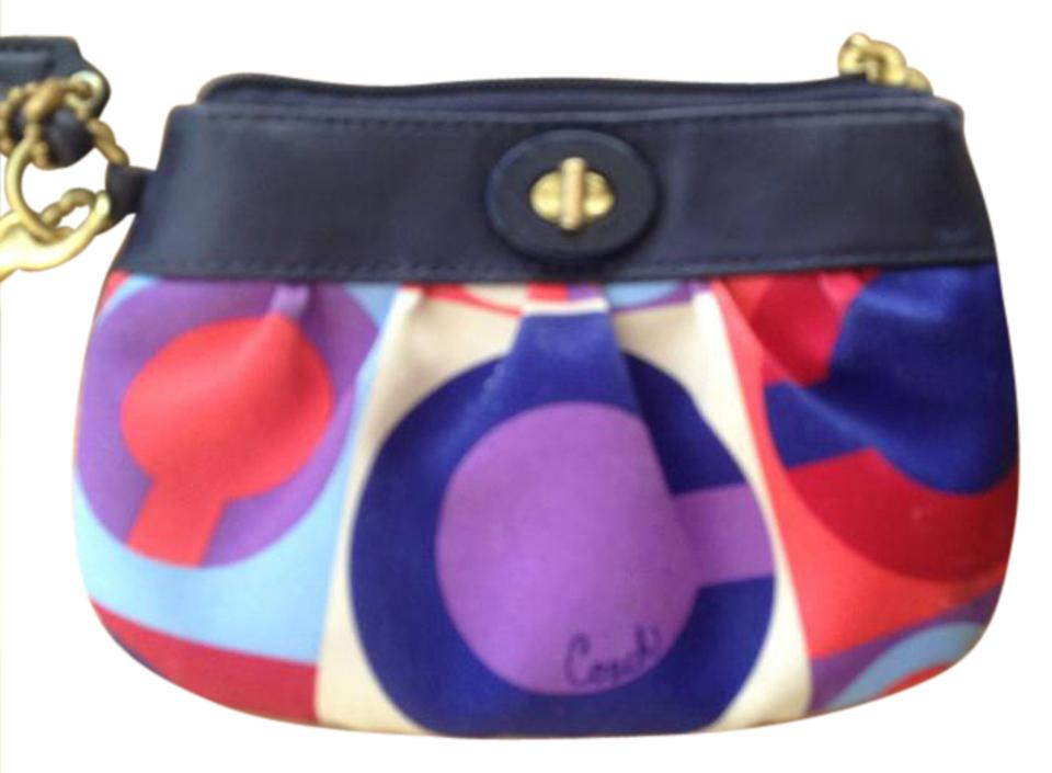 5823d89587a2 ... new zealand czech coach coach snap lock wristlet fabric leather multi  colored 5fa0b efdd8 9586d 26f64