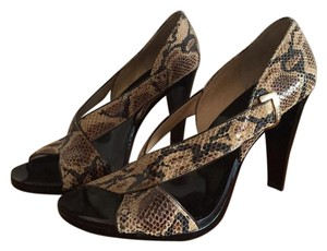 Michael Kors Snakeskin Night Out Party Black Lacquer Snakeskin Brown Sandals