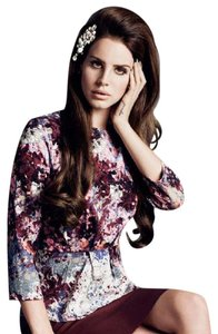 H&M Lana Del Rey Abstract Floral Peplum Celebrity Top MULTI