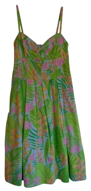 Lilly Pulitzer short dress Green and Pink floral on Tradesy