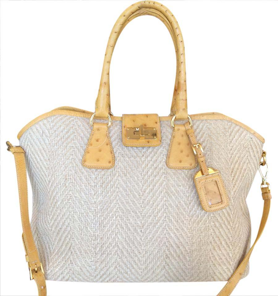 70fc46a00397 Prada With Natural Straw/Yellow Straw/Ostrich Leather Tote - Tradesy
