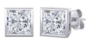 Other ** NWT ** 2.33 CT WHITE GOLD PRINCESS CUT STUDS