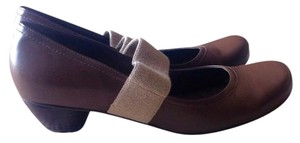 Uncle K. Mary Jane Comfortable Leather Elastic Brown Pumps