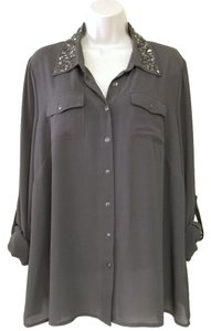 Forever 21 Sequin Chiffon Button Down Shirt Gray