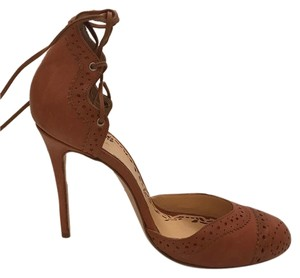 Marchesa Round Toe Ankle Tie tan leather Pumps