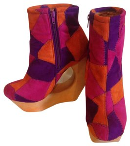 Jeffrey Campbell Multicolored Suede Cut Out Inside Side Zipper Handmade Fine Leather Lining multi; fuchsia, orange, violet Platforms