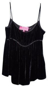 Juicy Couture Velvet Silk Blend Satin Piping Boho Gothic Top Black