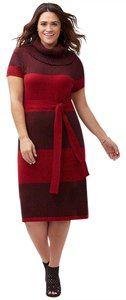 Lane Bryant short dress RED BLACK Striped Self Belt Cowl Knit Marled on Tradesy