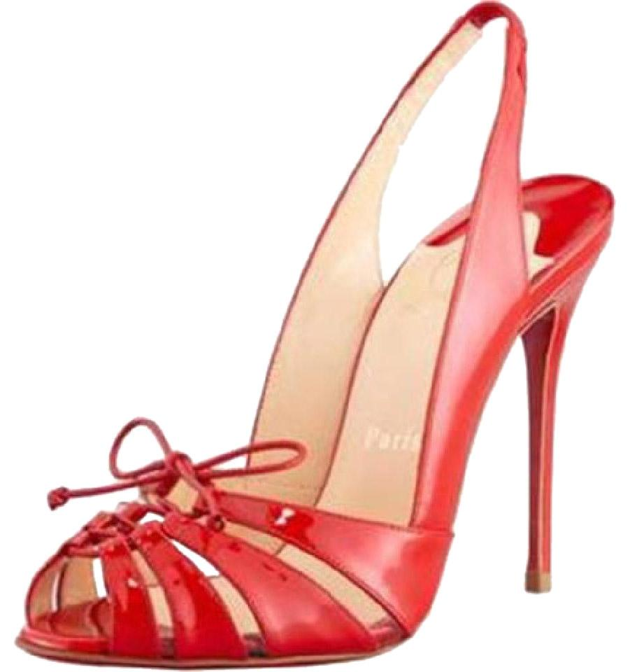Christian Louboutin Red Heels Corsetica Patent Leather Pvc Sling Slingback Heels Red 37.5 Sandals b09aaf