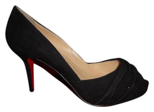 Christian Louboutin Peep Toe Verde Ruched Suede Black Pumps