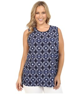 Vince Camuto Navy Batik Mix Media Top BLUE