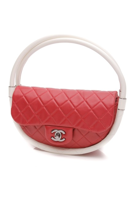 Item - Quilted Small Hula Hoop Red White Lambskin Leather Satchel