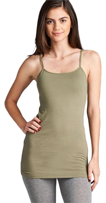 Item - Olive W Amazing Fit Long Stretch Tunic W/ Shelf Bra Tank Top/Cami Size 12 (L)