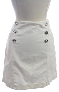 White House | Black Market Front Aline Mini Easy To Wear Smal Size Mini Skirt White