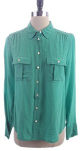 J.Crew Jade Blythe Silk Shirt Button Down Shirt Green