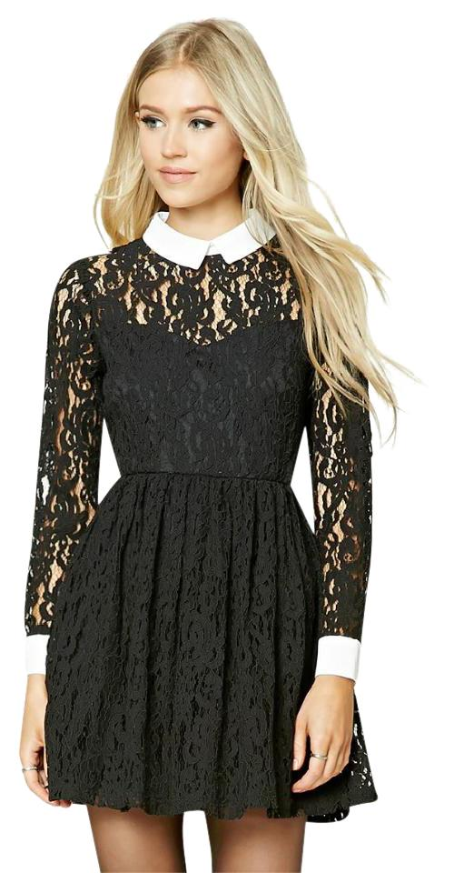 Forever 21 Lace Peter Pan Collar Longsleeve Mini French Maid Dress