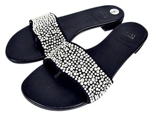 Stuart Weitzman Sandals Black Pearlscent Rhinestones black/white Flats