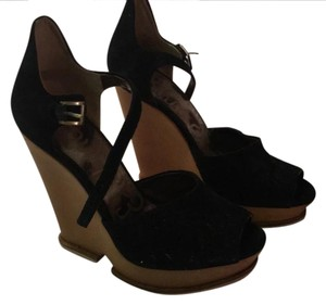 Sam Edelman black Suede with wood wedge Wedges