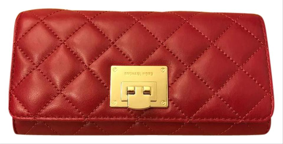 a5b1c652cc68 ... Michael Kors MICHAEL KORS Soft Astrid Carryall Quilted Leather Clutch  Wallet Cherry .