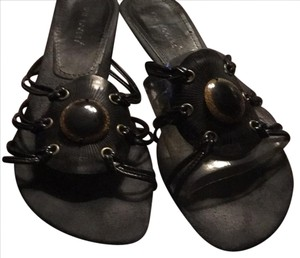 Kim Rogers black with brown embellishment. Sandals