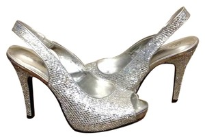 Lulu Townsend Prom Formal Metallic Silver Glitter /Platinum Sandals