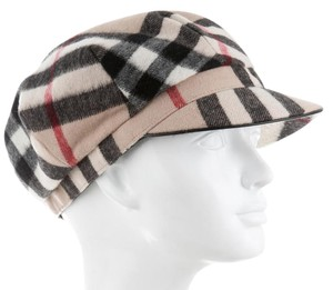 Burberry Beige, red multicolor wool Burberry Nouse Check print cap hat L