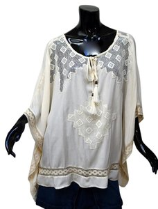Knox Rose Boho Romantic Lace Peasant Caftan Top Ivory
