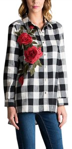 Other Plaid Rose Embroidered Rose Button Down Shirt