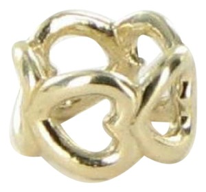 PANDORA 750454 Bead/Charm Spacer Open Heart Filigree 14k Yellow Gold