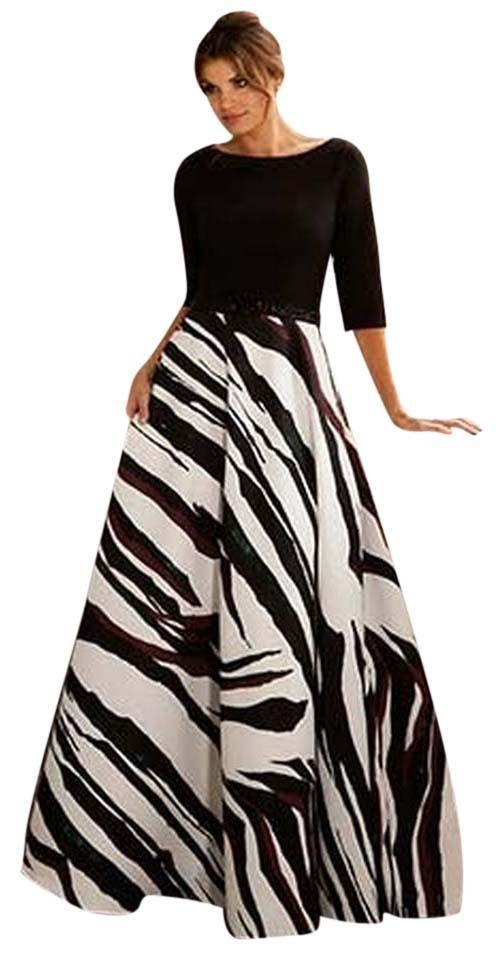 Jovani Black and White Evening Gown Long Formal Dress Size 6 (S ...