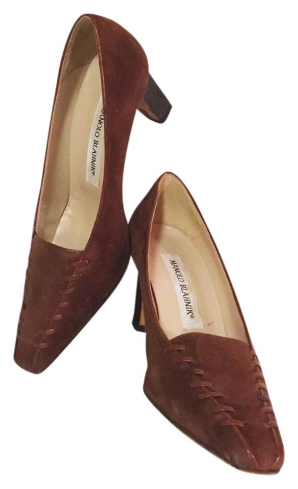 3adc0cce6a385 Manolo Blahnik Vintage Suede Brown Woven Detail Kitten Pumps Size US ...