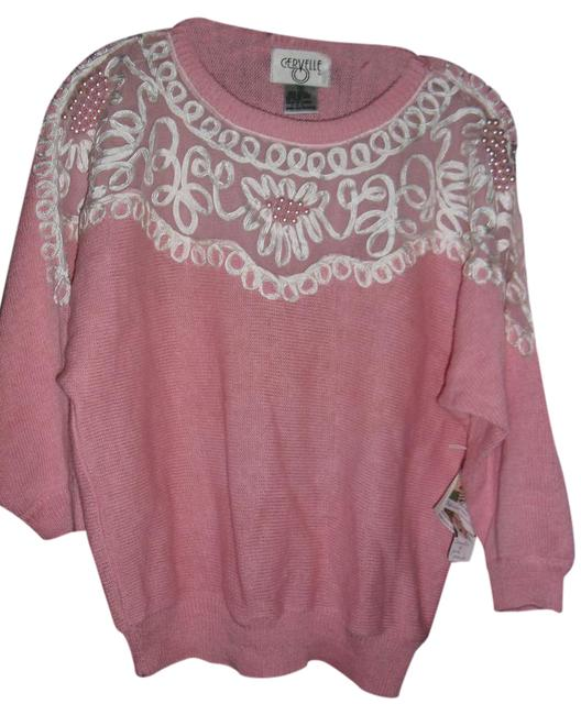Item - Light Unique Pearls Corded Lace Luxe Sweat Baby Pink White Sweater