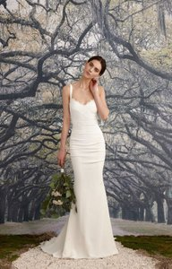 Nicole Miller Bridal Nicole Miller Tonya Stretch V Neck Gown Antique White Women's Dress 2 Wedding Dress