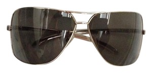 Chanel Chanel Silver Sunglasses w black leather arms