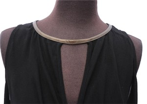 Ella Moss Sleeveless Top black with bronze faux leather