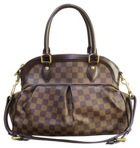 Louis Vuitton Lv Damier Ebene Trevi Pm Canvas Satchel in brown