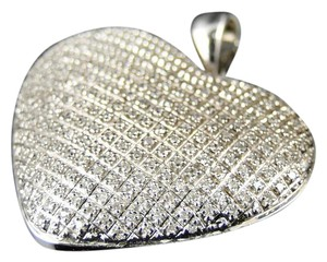Other White Gold Finish Ladies Puffed Heart Pendant Charm .52 Ct