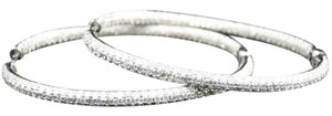 Other Ladies 10K White Gold Diamond Oval Hoop Earrings 3.5 Ct